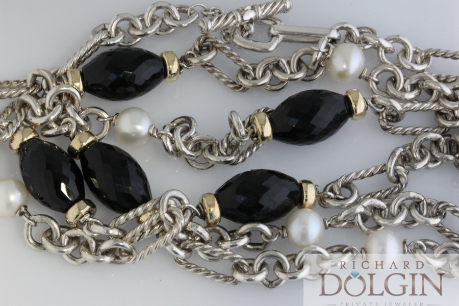 David Yurman Necklace with Onyx and Pearls