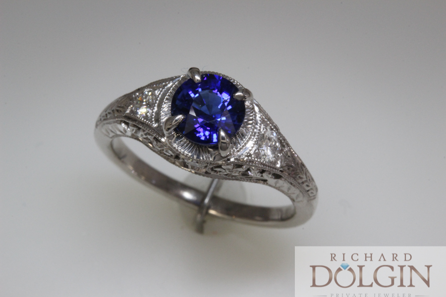 Sapphire and diamond antique style ring