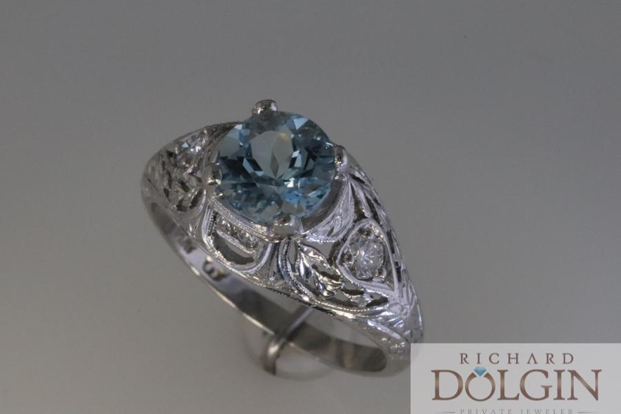 Aquamarine antique ring