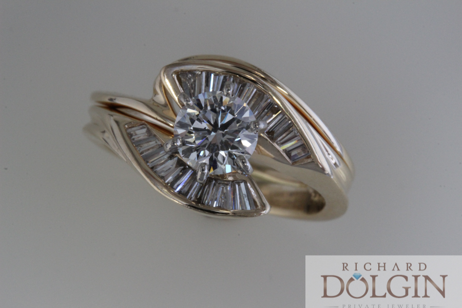 Diamond ring with baguette accents