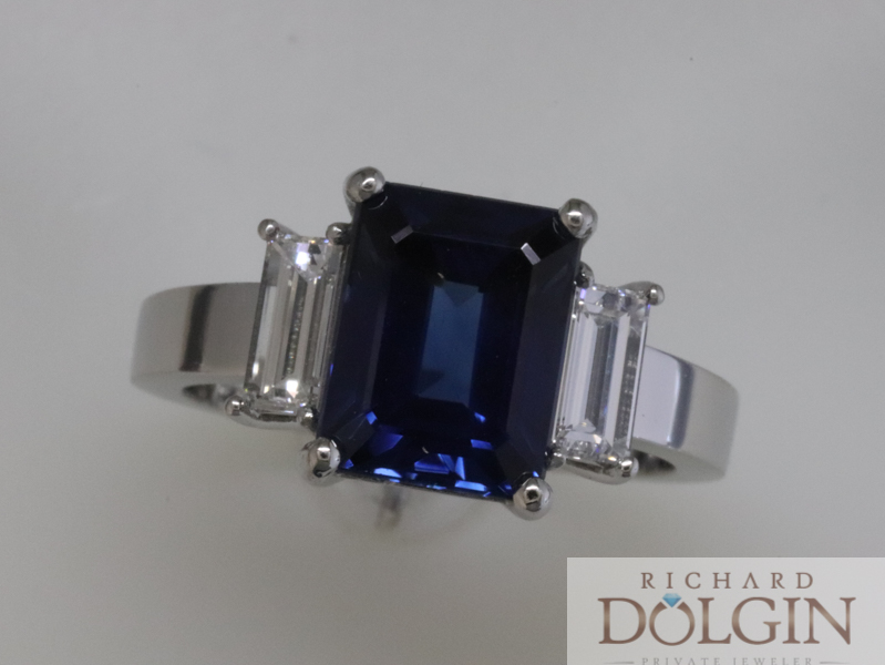 Emerald cut sapphire with baguette diamond accents