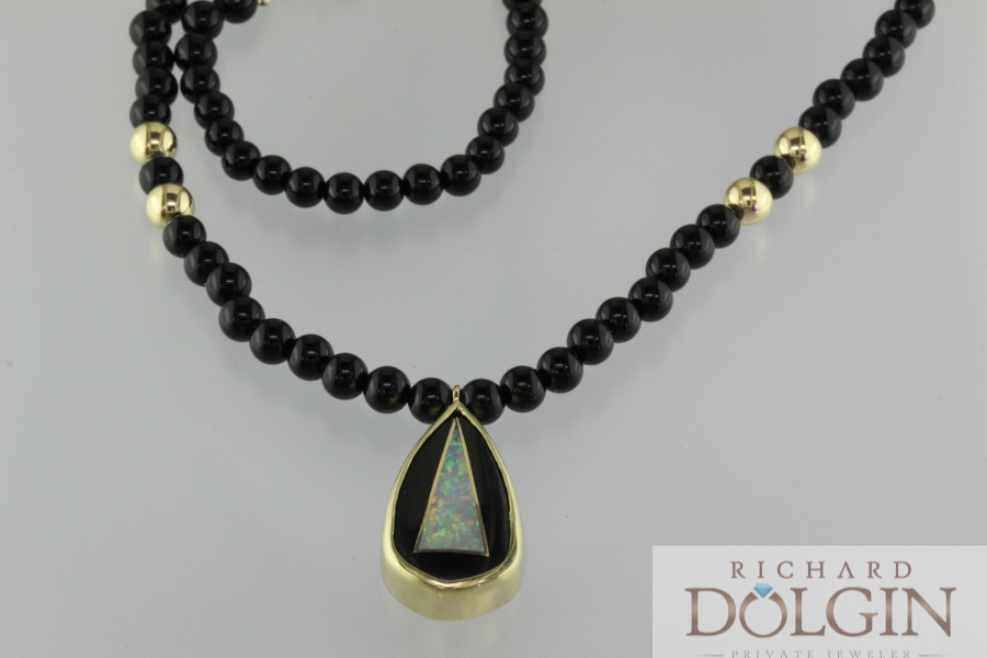 Intarsia Onyx and Black Opal Pendant
