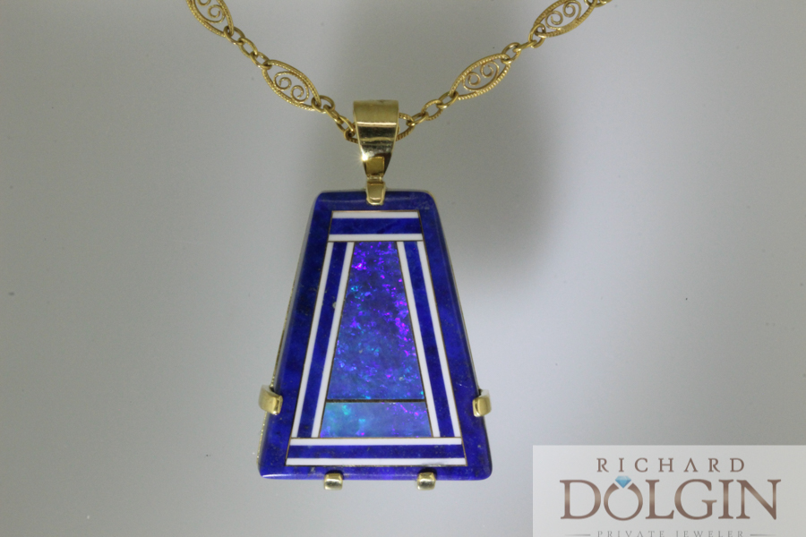 Intarsia Lapis and Black Opal Pendant