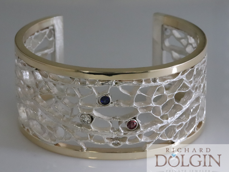 Sterling silver cactus core bracelet with 14 karat yellow gold border