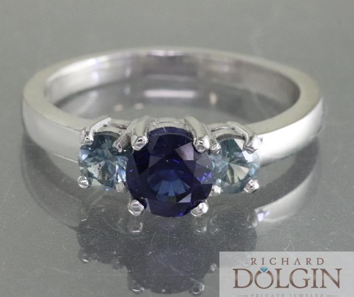 Sapphire Three Stone Platinum Ring