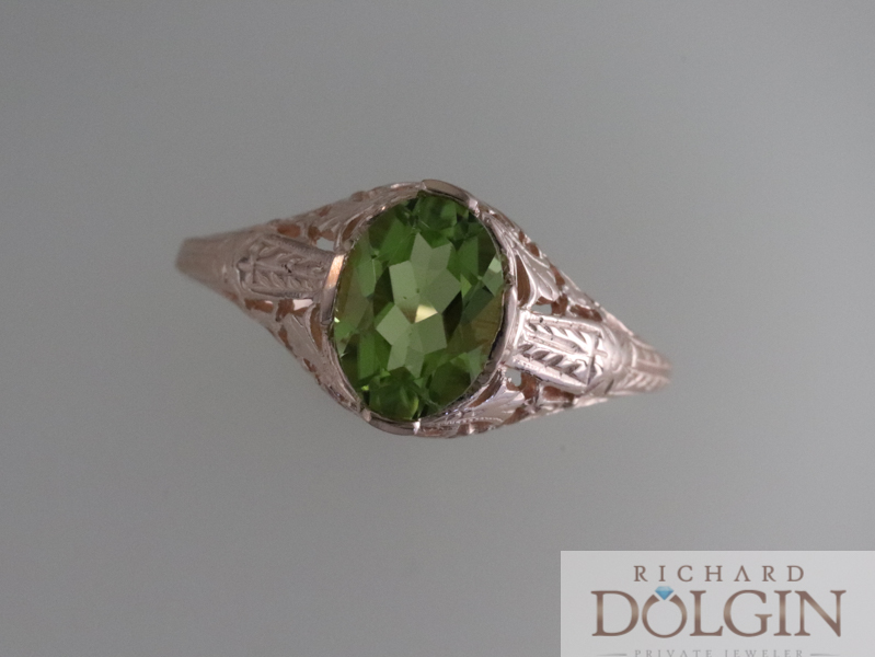 Top view - Peridot and Rose Gold Vintage Inspired Ring