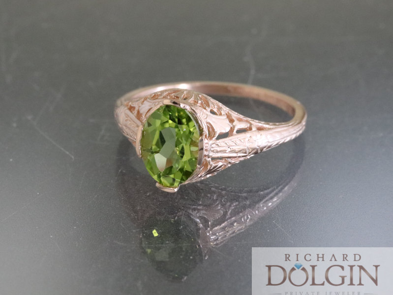 Peridot and Rose Gold Vintage Inspired Ring