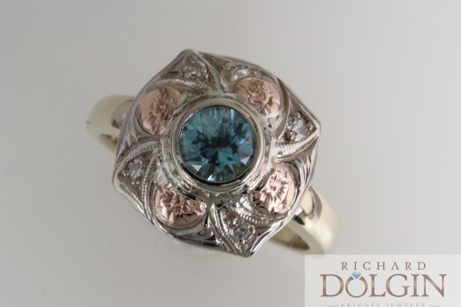 Vintage Blue Zircon Ring