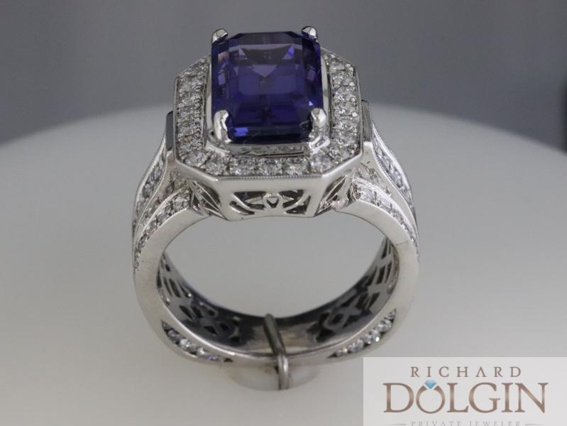 Tanzanite and diamond ring - side view
