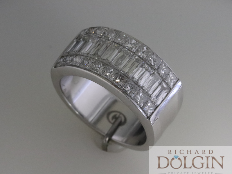 18k white gold diamond band designed by Christopher Designs