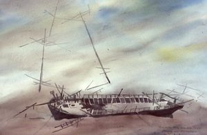 "Orcadian Shipwreck 18"" x 24"" Located & Identified by Artist - Artist's Collection"