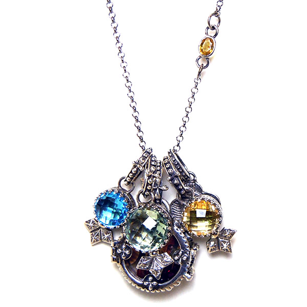 "Sterling silver ""Sofia"" Fortuno Locket & stone charms by Demian & Alex Vazquez."
