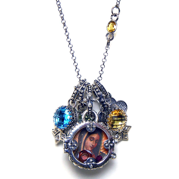"""""""Sofia"""" Fortuno Locket on rolo chain with stone link, stone charms & virgin clover charm."""