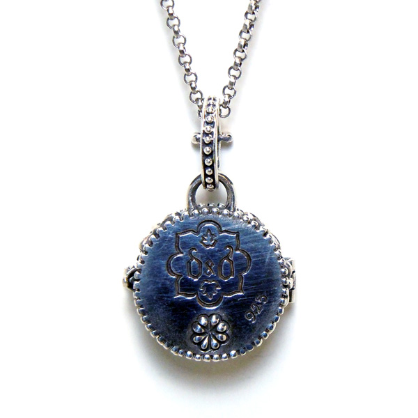 """""""Sofia"""" Fortuno Locket detailed back view."""
