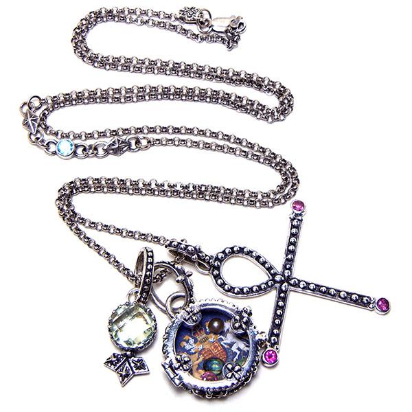 """Sofia"" Fortuno Locket on rolo chain with blue topaz, pink tourmaline ankh & green amethyst stone charm."