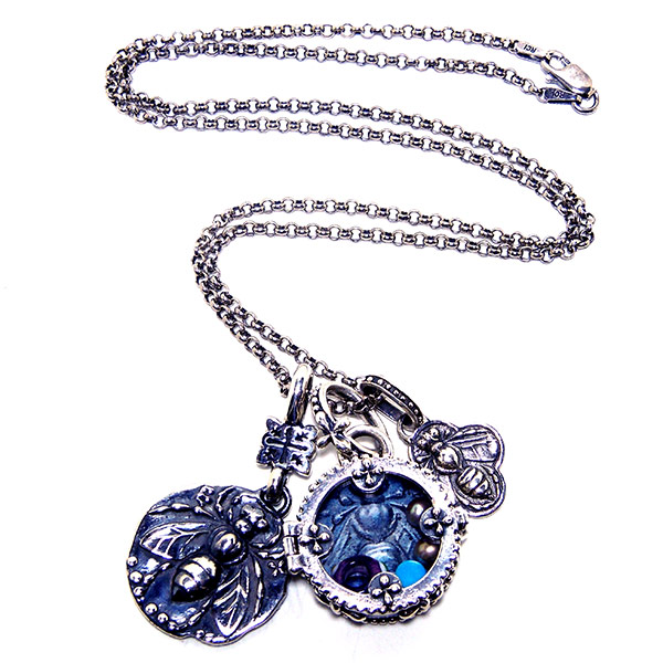 """Rolo chain with """"Sofia"""" locket, bee coin & bee clover charm."""