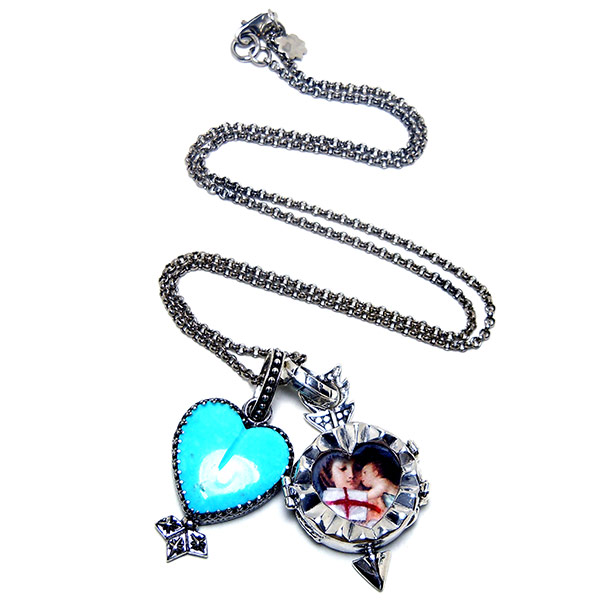 """Rolo chain with """"Adamo"""" fortuno locket & turquoise heart charm."""