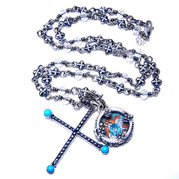 """Sterling silver """"Isis"""" chain with crystal links: #CRCHN3"""