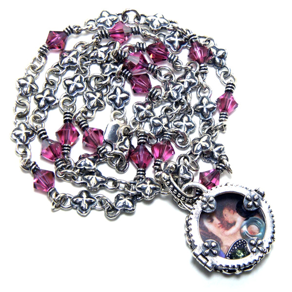 """Sterling silver """"Isis"""" clover chain with pink Swarovski crystal links: #CRCHN4"""