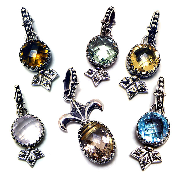 """Fortuno """"Polaris"""" stone charms set in sterling silver: #SC"""