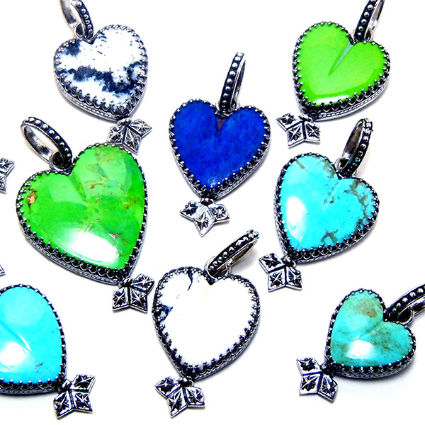 Multi colored turquoise & lapis hearts set in sterling: #TC