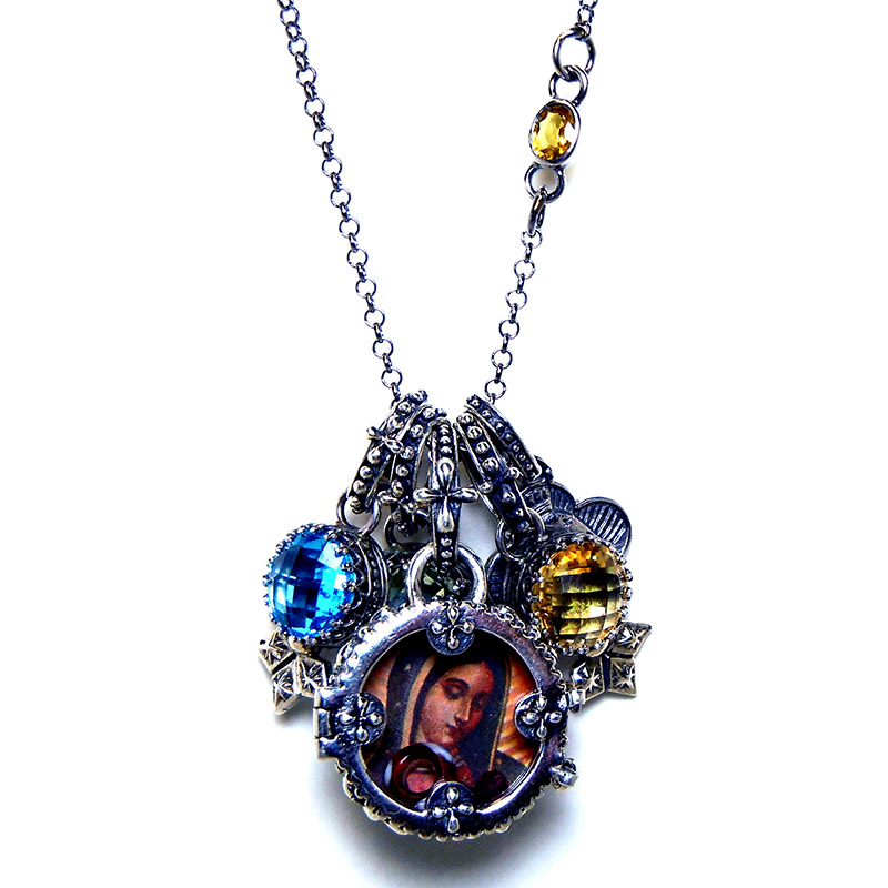 """Sofia"" picture locket with stone charms in sterling silver."