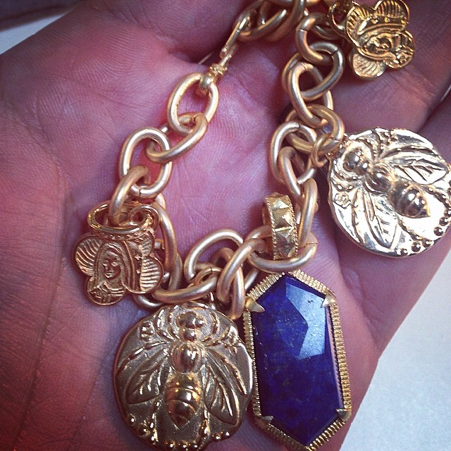 Blue Girl charm bracelet with lapis stone pendant by #demianandalex available now at #wwwdemianandalex #florencecollection #charmbracelet