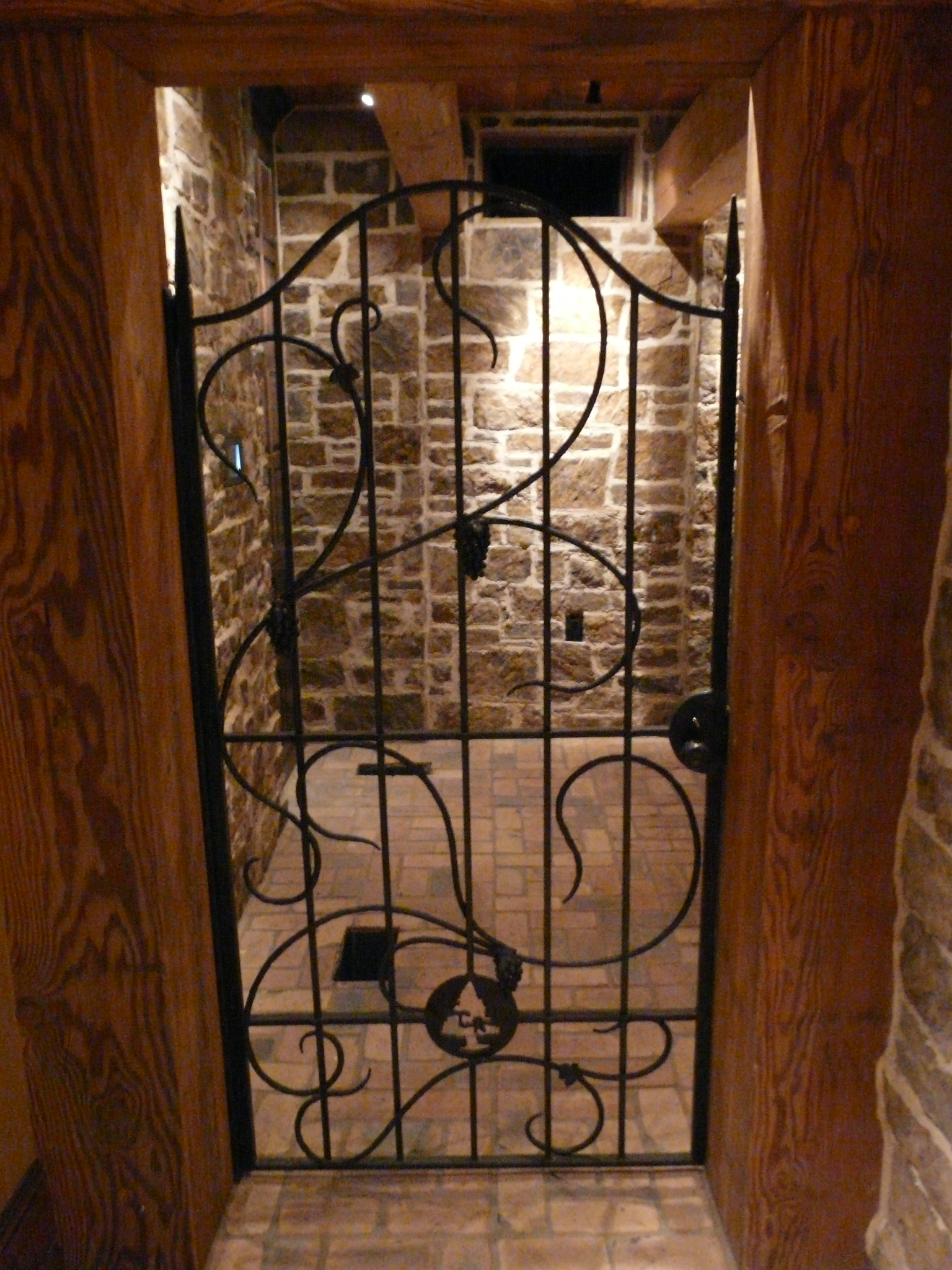 Wine Cellar Gate with Hand Forged Grape Clusters