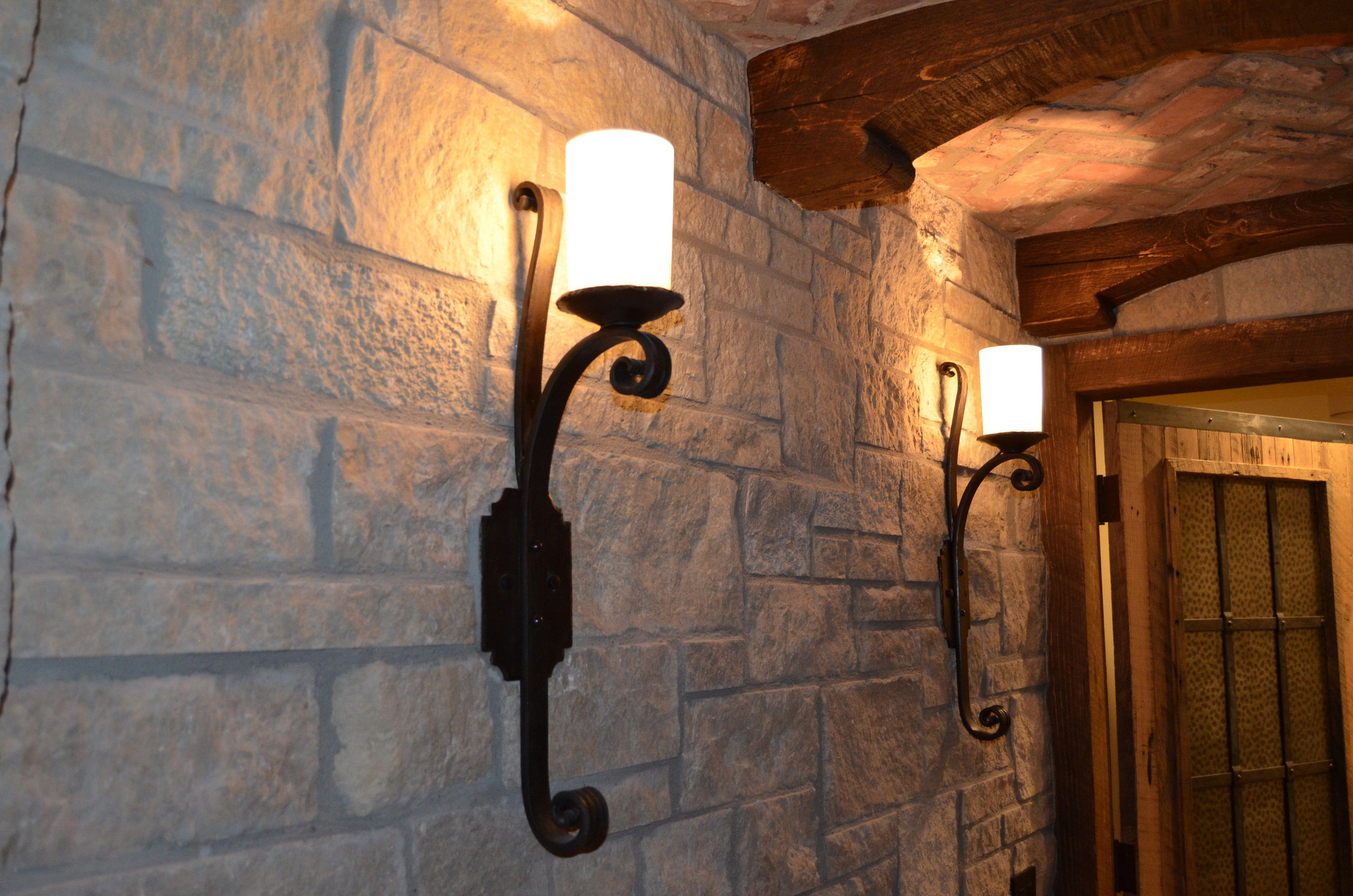 Gothic Sconce with Blown Glass Shades