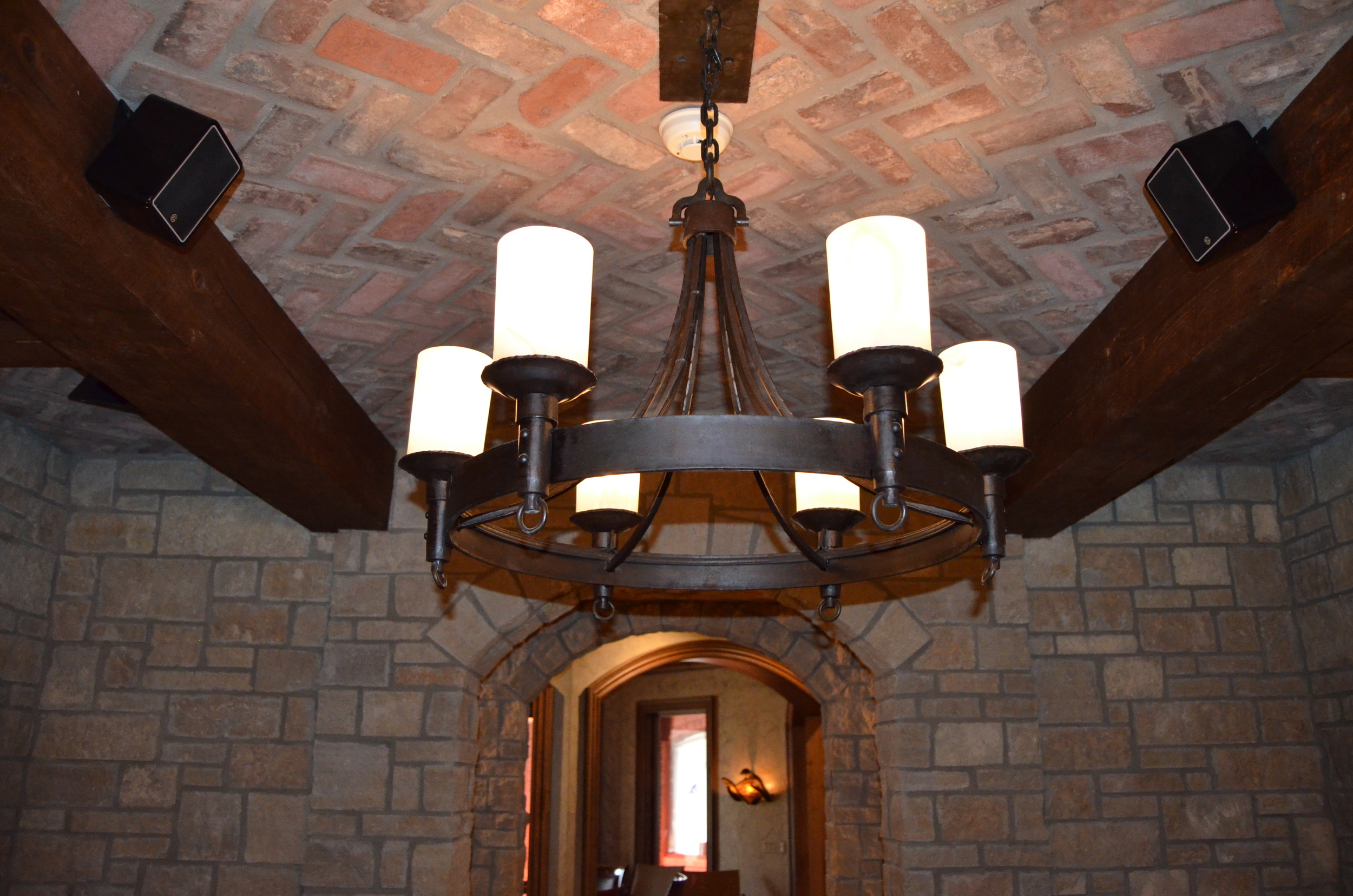 Gothic Chandelier with Blown Glass Shades