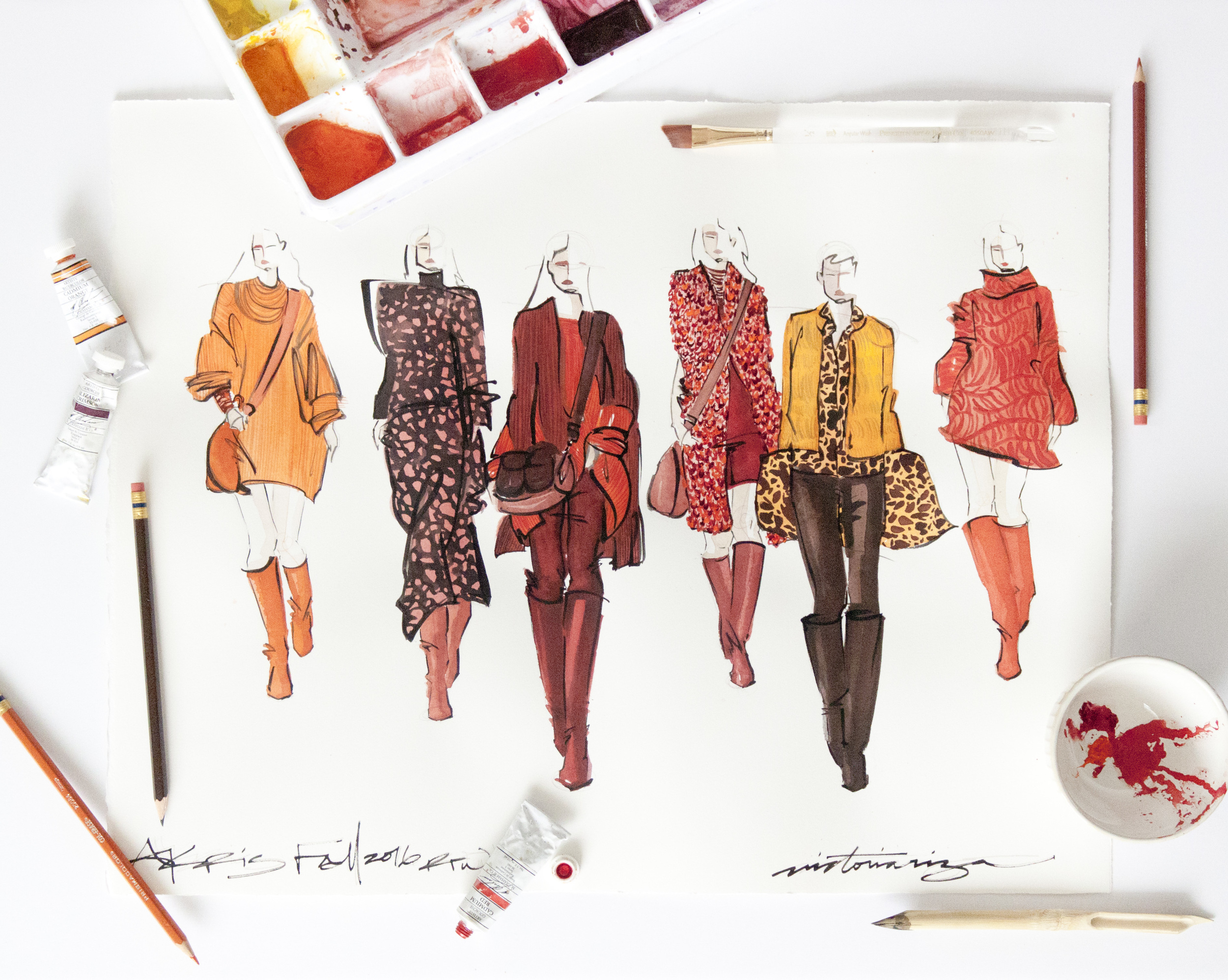 VIctoria-Riza Fashion Illustrator | Akris Fall 2016 RTW