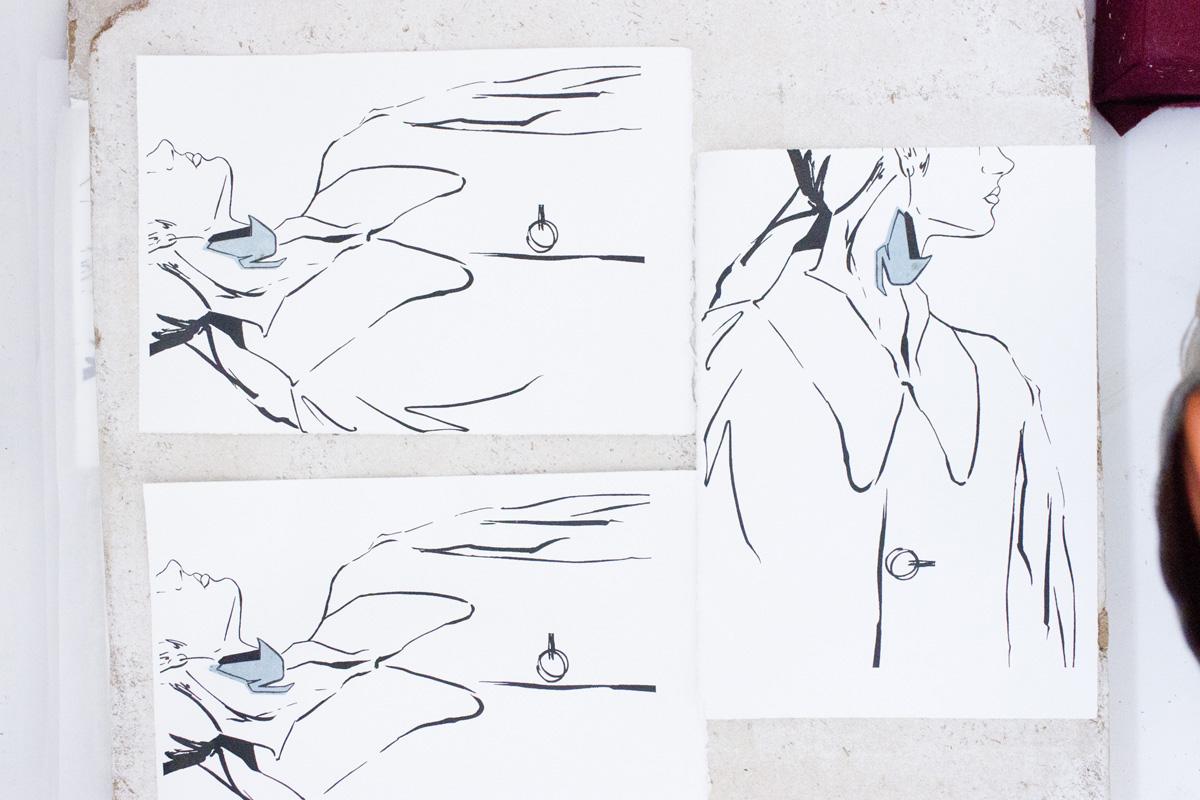Victoria-Riza Fashion Illustrator | Printmaking | Letterpress Prints of Stella McCartney Swan Earrings