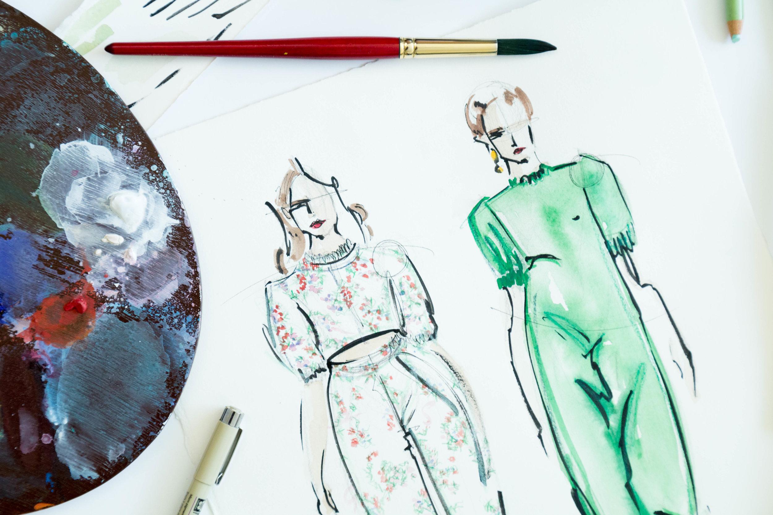 Victoria-Riza | Fashion Illustrator | Emilia Wickstead Spring 2017 Ready to Wear
