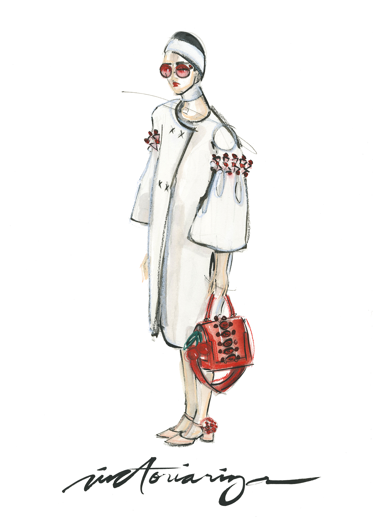 Victoria-Riza Fashion Illustrator | Anya Hindmarch Spring 2017 RTW