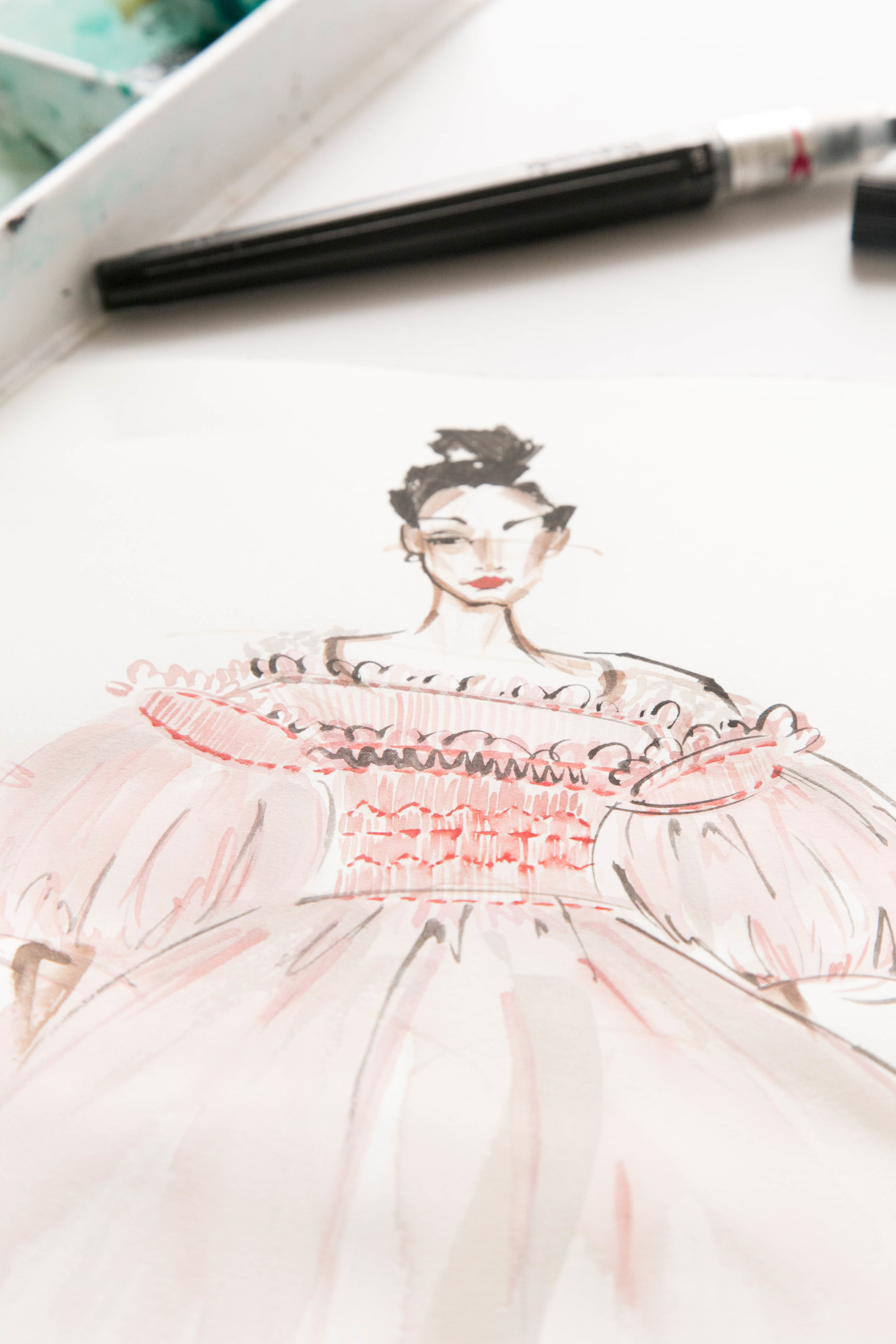 Victoria-Riza Fashion Illustrator | Molly Goddard Fall 2017 RTW