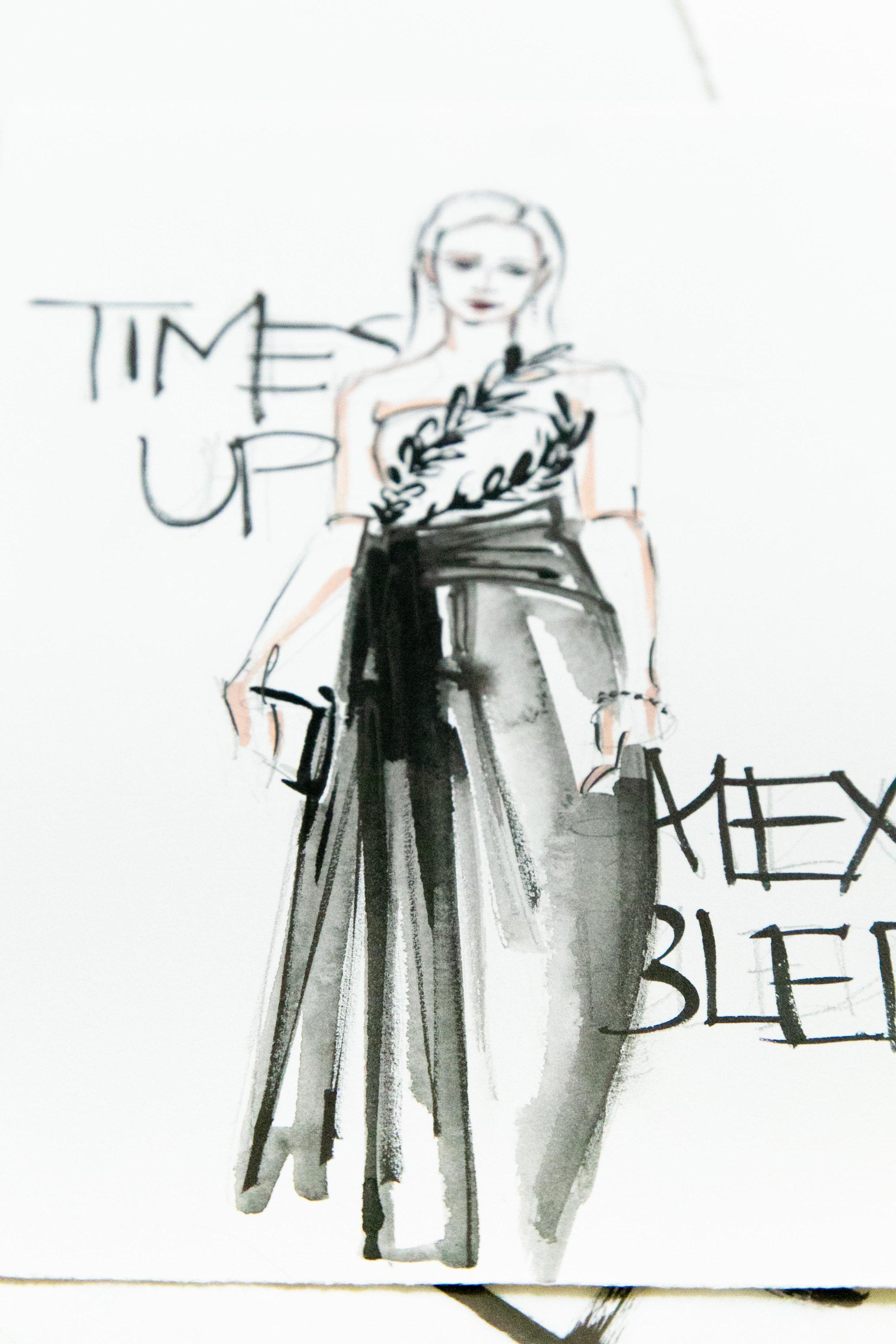 Victoria-Riza Fashion Illustrator | Golden Globes Time's Up