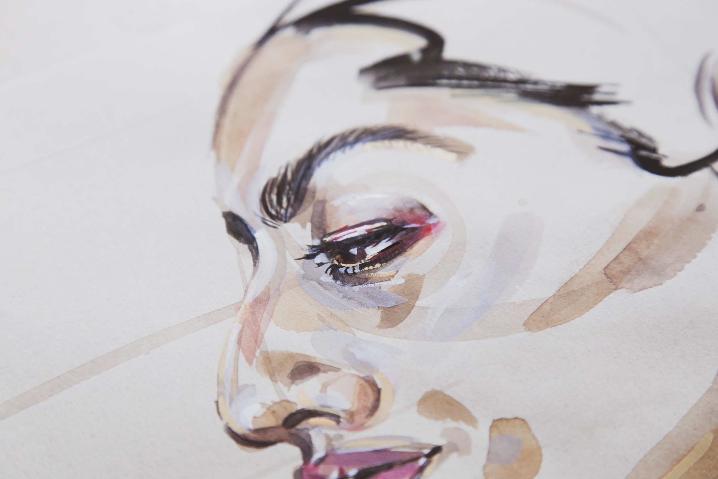 Victoria-Riza Fashion Illustrator and Artist | Beauty portrait in watercolor and gouache on nideggen paper