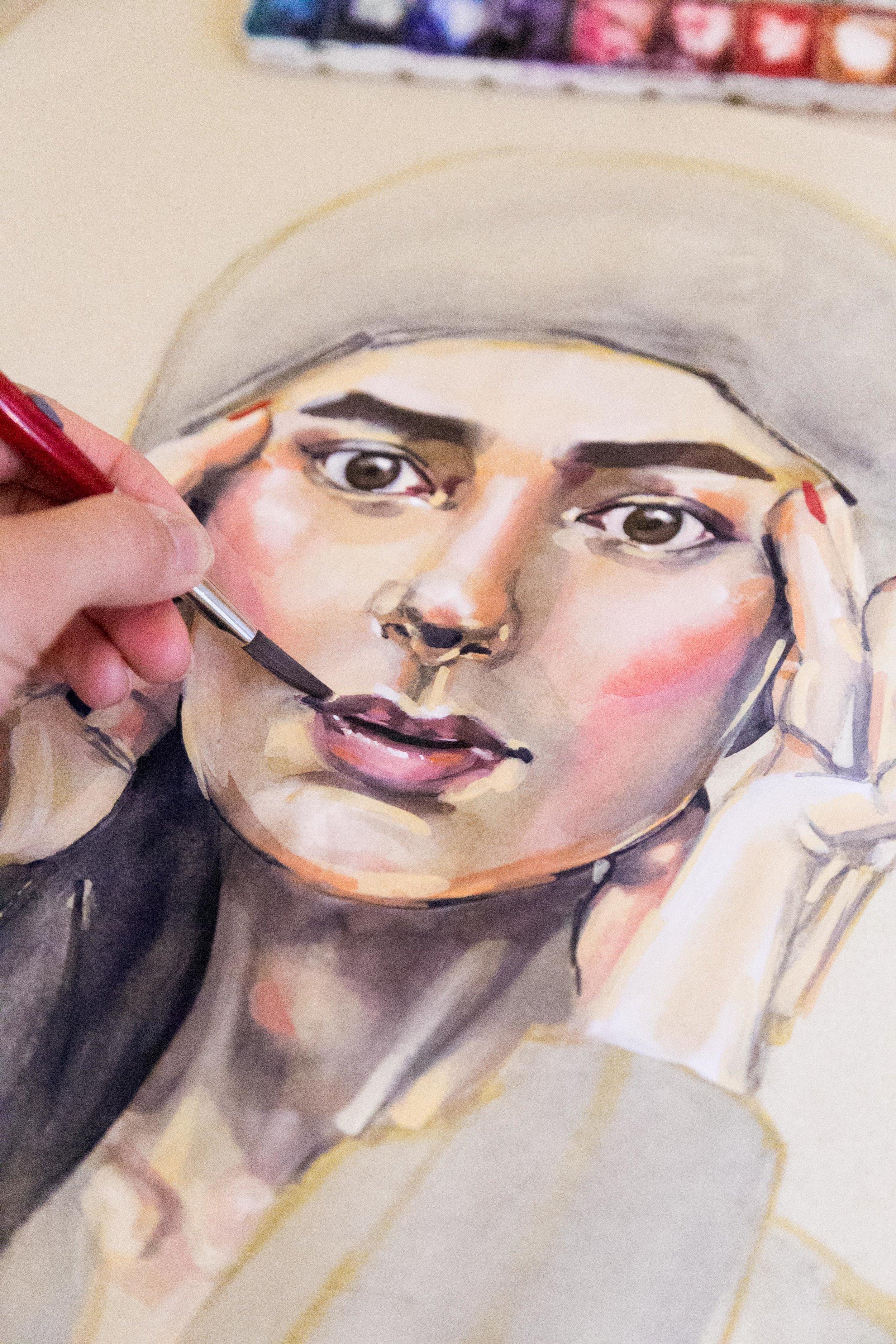 Victoria-Riza Fashion Artist Illustrator and Printmaker | Cover Art for Noor Elkhaldi's podcast, Arab-American Psycho