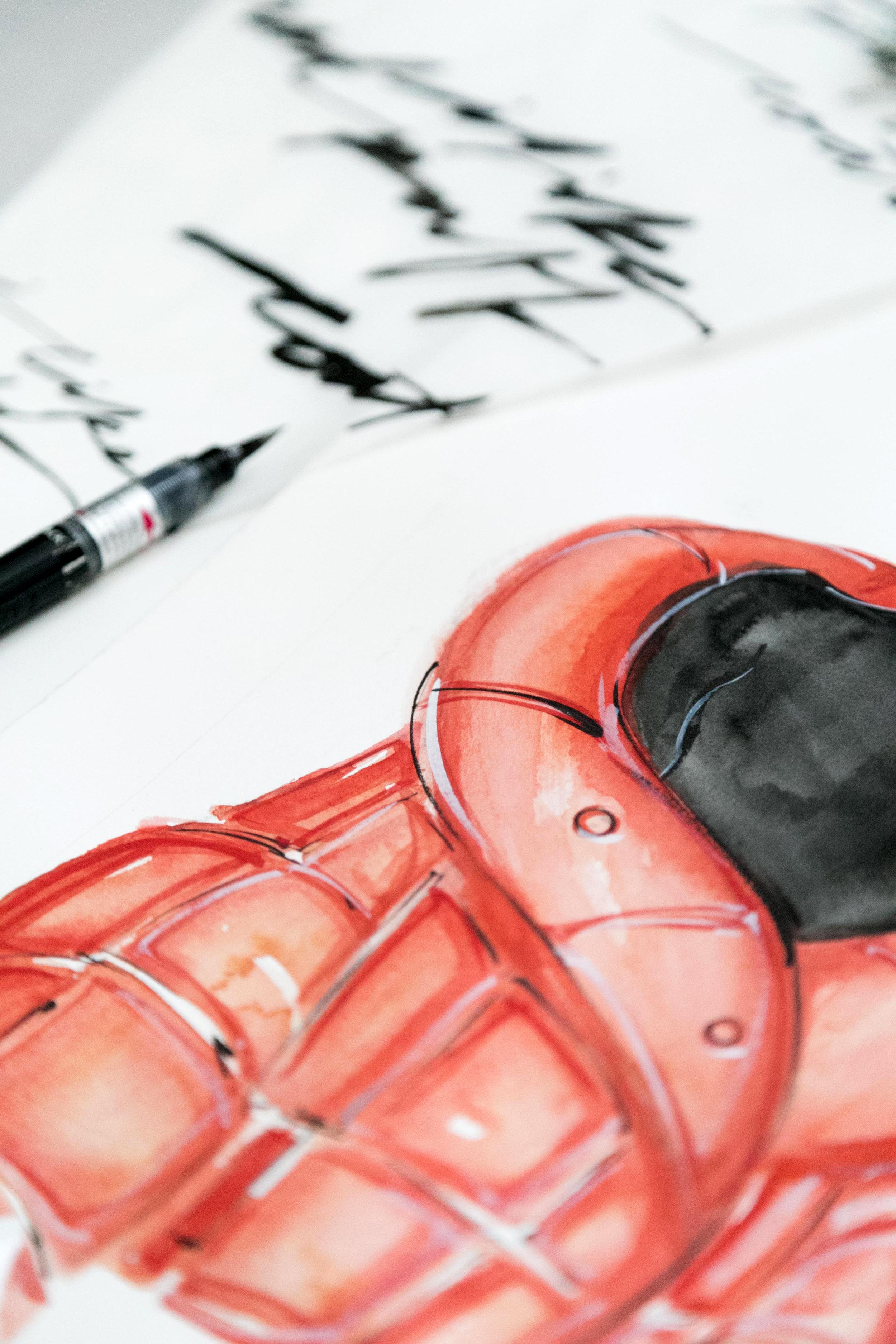 Victoria-Riza Fashion Illustrator | Red Puff Coat