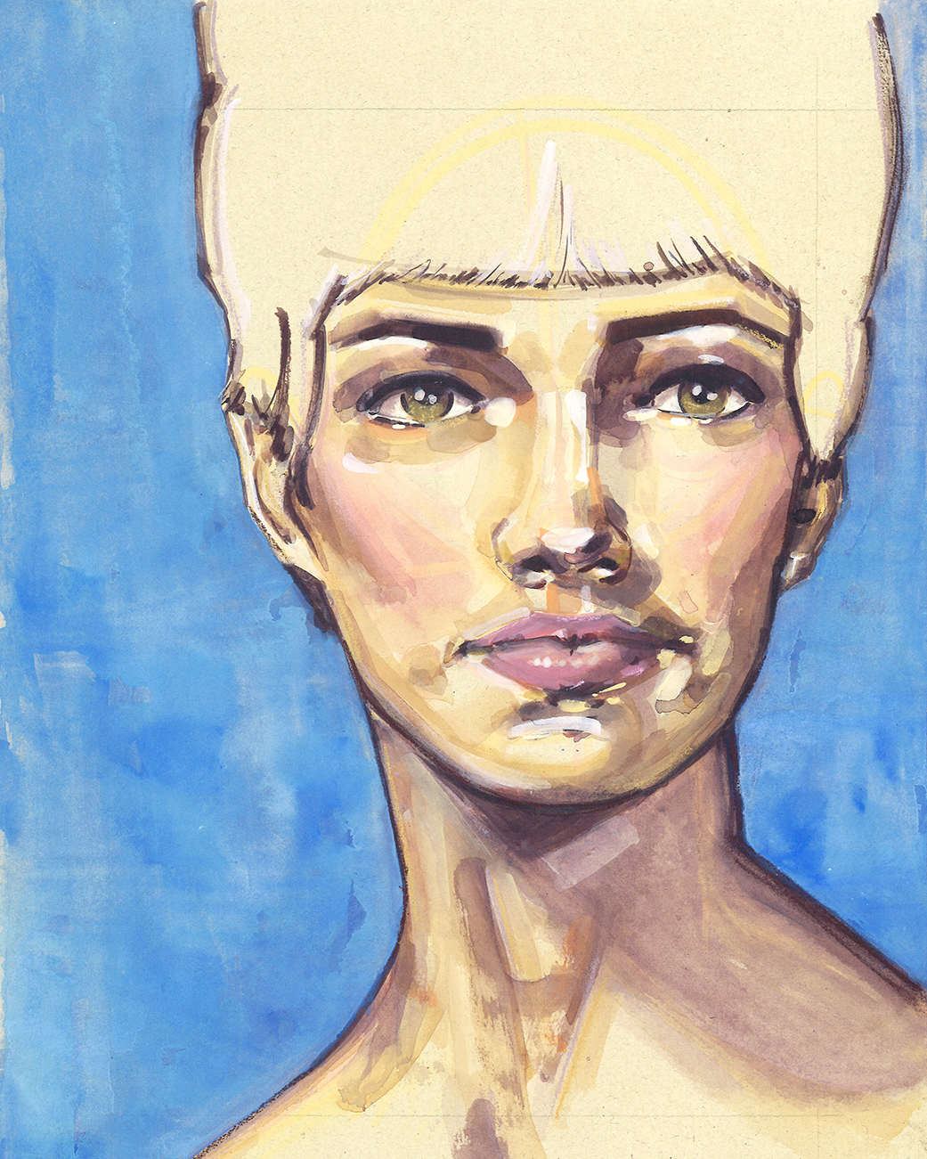 This portraiture was created on nideggen paper with watercolor, gouache, and  Rembrandt soft chalk pastels .