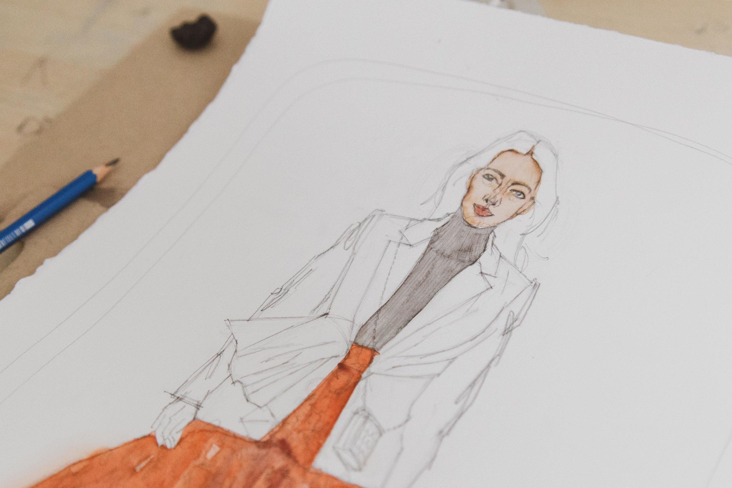 Victoria-Riza Fashion Artist and Illustrator | Carolina Herrera NYFW Fall 2019 RTW