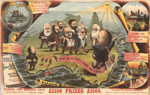 """(1901).  Poster """"Don't be in such a hurry gentlemen!"""". To do with Enabling Acts 1896 leading to 1897 Convention. Deakin Collection . 1901 - http://trove.nla.gov.au/work/22431900"""
