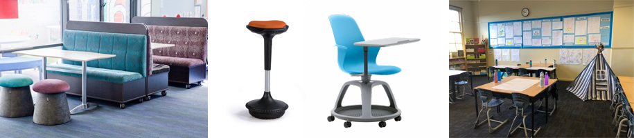 Happy Daze Booths and Suno Stool courtesy of BFX - Node Chair/Desk courtesy Steelcase