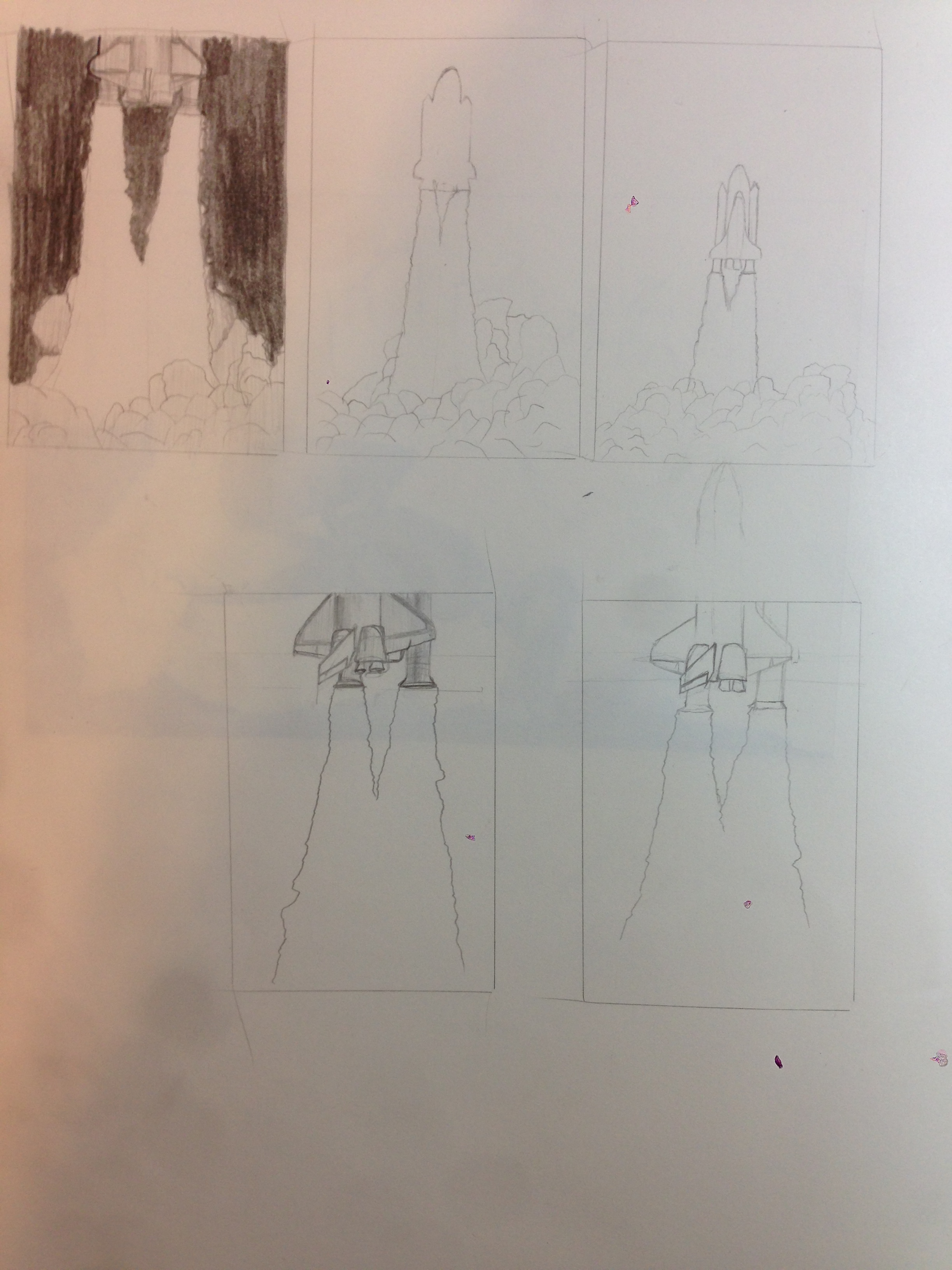 Here are a few of the thumbnail sketches that I made when I was developing the idea.