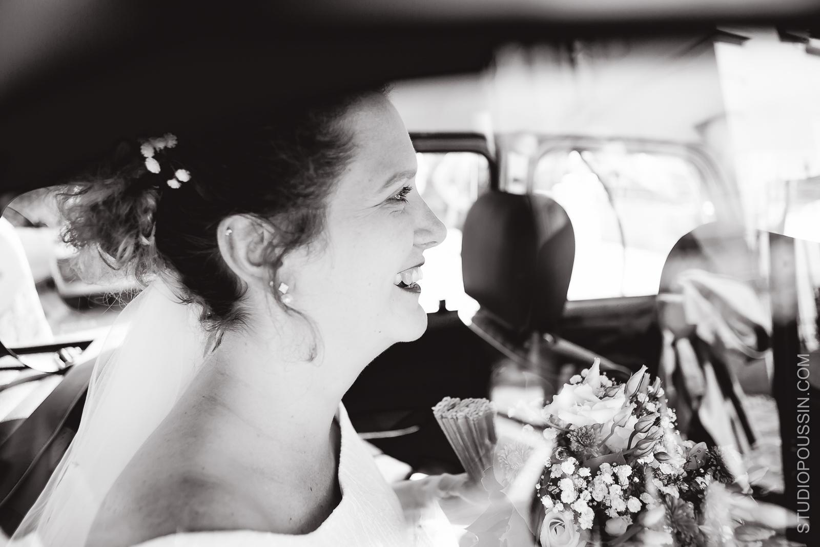 arrivée en voiture de la mariée photographe eure