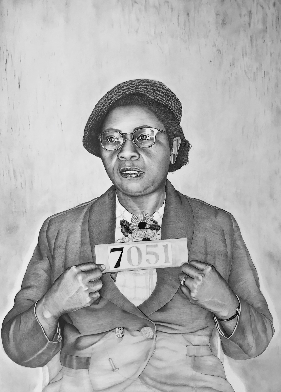 "Cora McHaney , 2017, graphite and conte pencil on paper, 47 x 33 1/2"" *work in progress*"