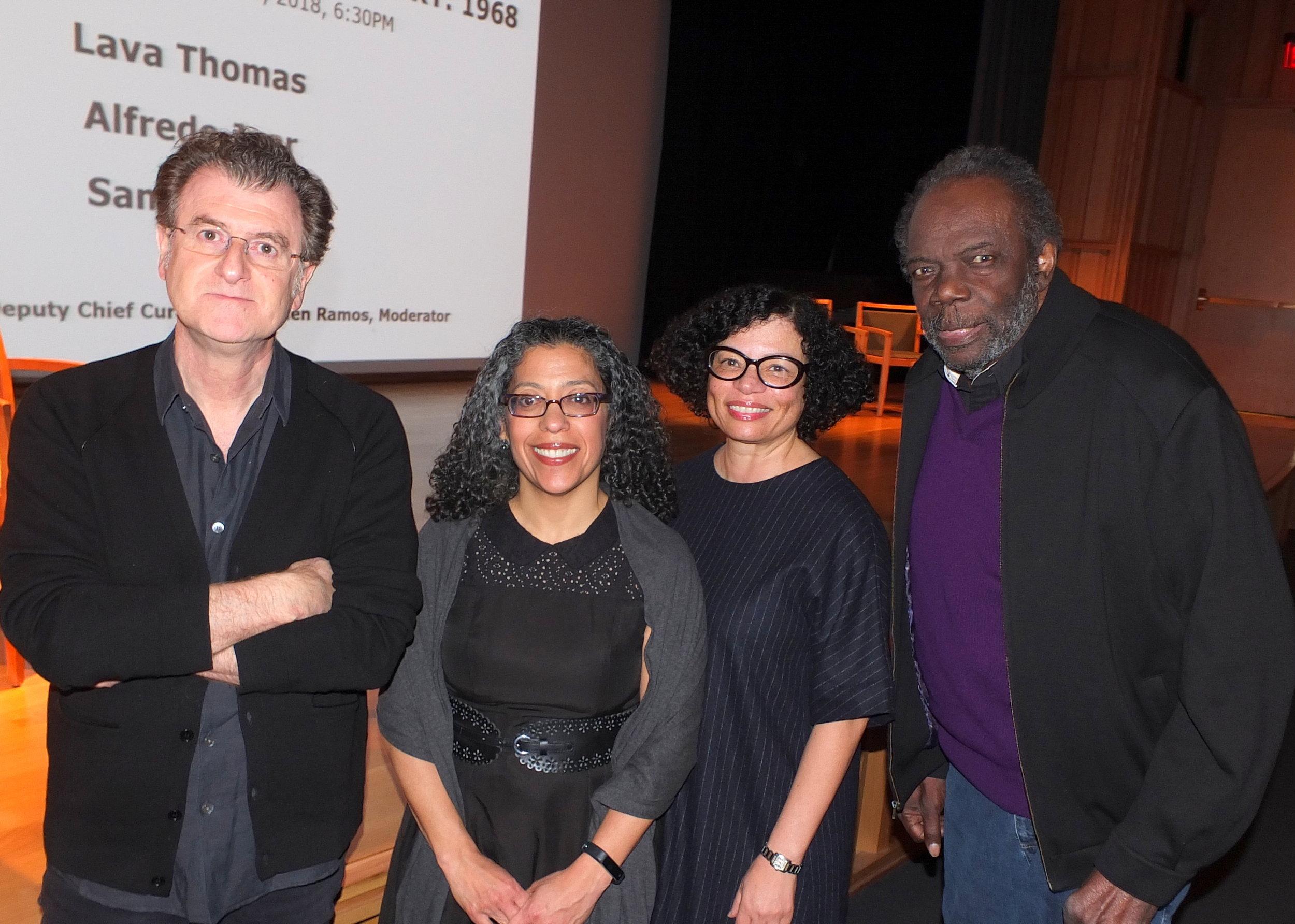Alfredo Jaar, SAAM Deputy Chief Curator E. Carmen Ramos, Lava Thomas, and Sam Gilliam. Photo © Bruce Guthrie