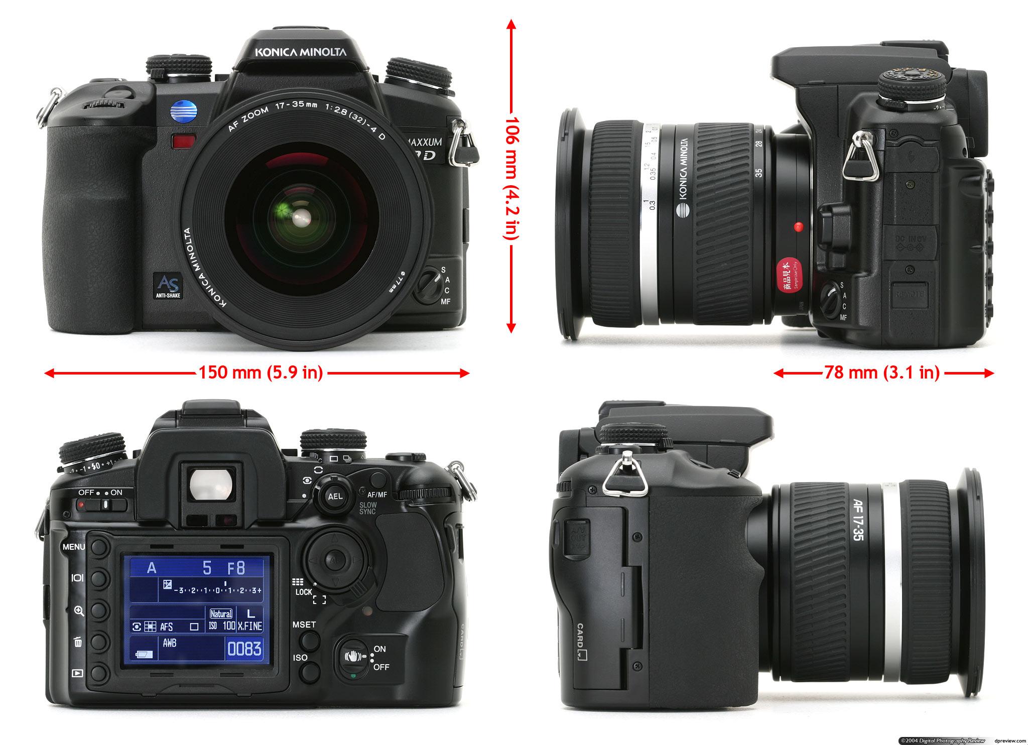 Konica Minolta Dynax 7D - 6.3 MP, APS-C CCD sensor, ISO 100-1600,pentaprism view finder, 2.5