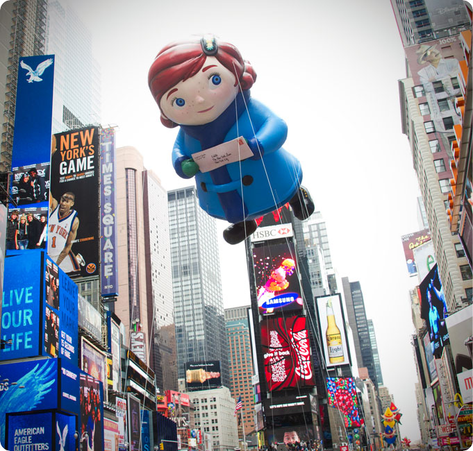 in 2010 Virginia was made into a floating blimp for the Macy's Thanksgiving Day Parade in NYC. Photo Matt MacDonald