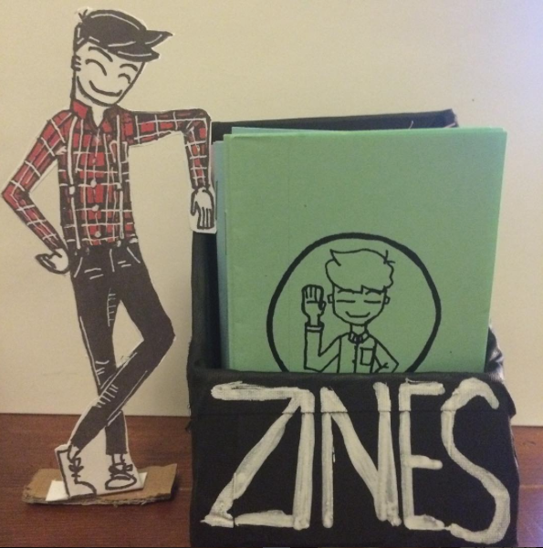 My Zine Display with our MASCOT hanging out